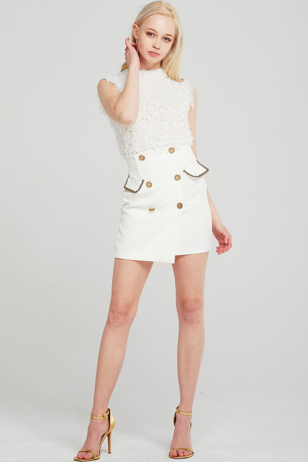 Leslie Gold Trim Button Skirt