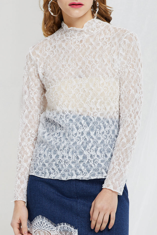 Rosa Wavy Mock Neck Lace Top