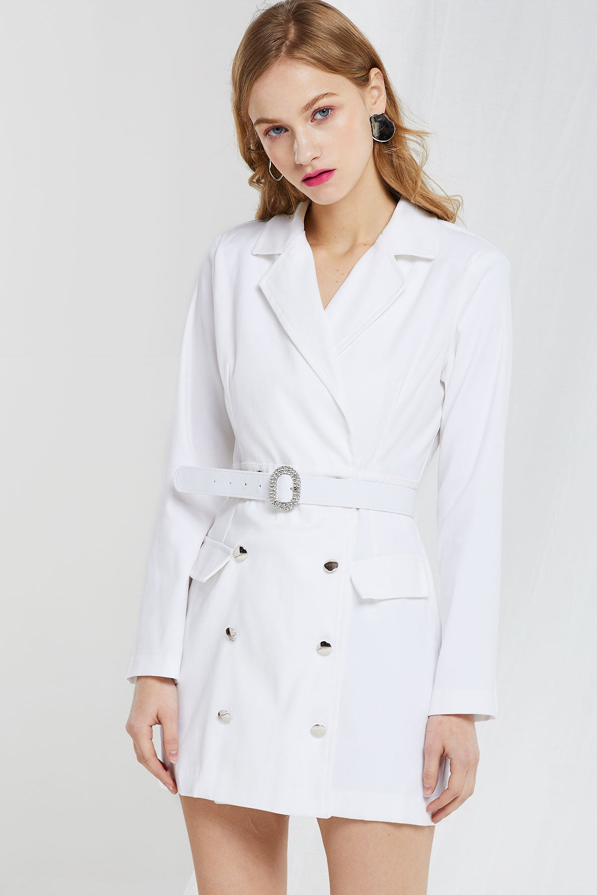 Delores Double Breasted Jacket Dress w/ Belt