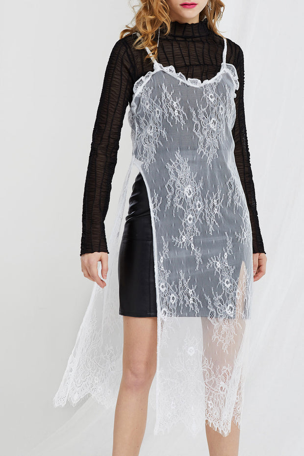 Lauren Deep High Slit Lace Dress