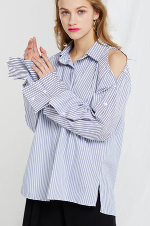 Mana Bottoned Sleeves Stripe Shirt