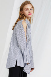 Mana Buttoned Sleeves Stripe Shirt-2 Colors