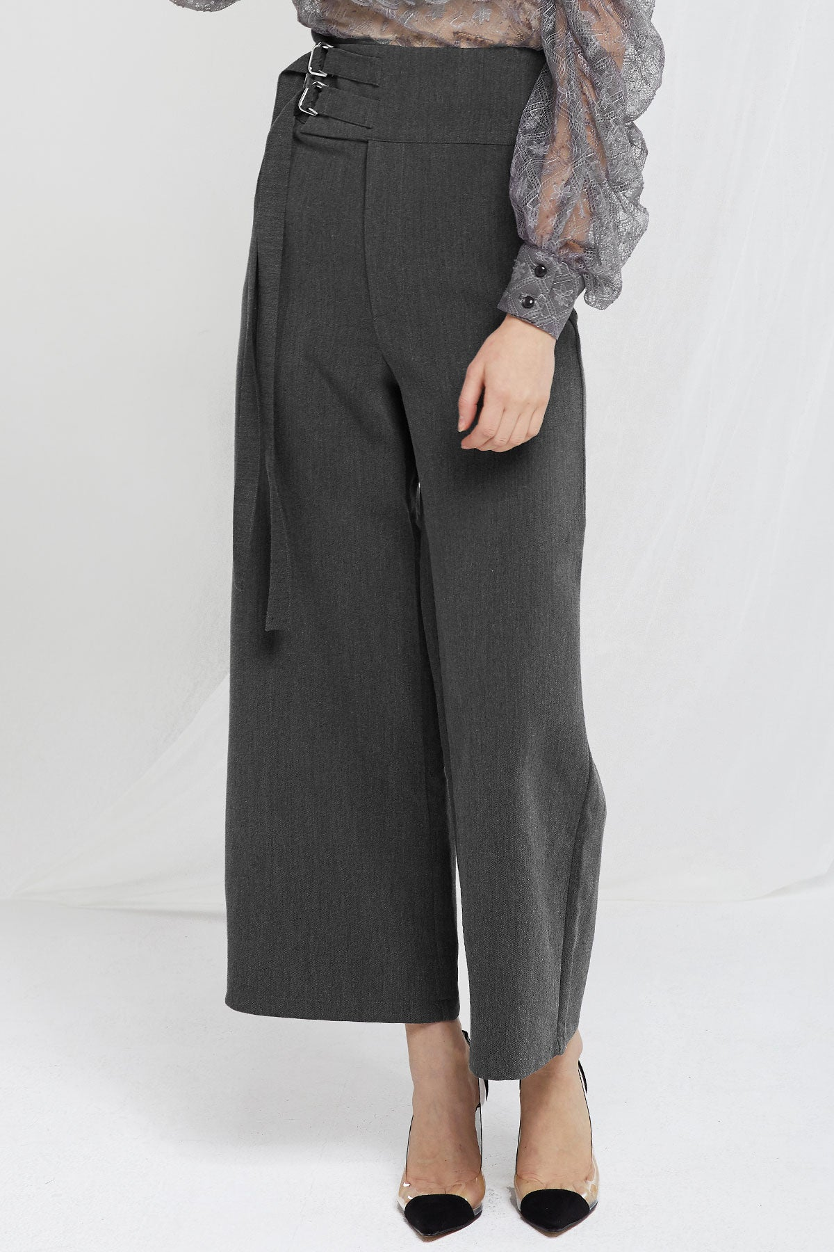 Grace Double Belted Wide Pants-2 Colors