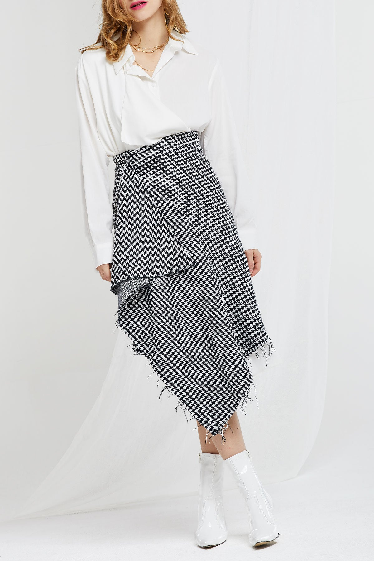 Alexia Houndstooth Frayed Skirt (Pre-Order)