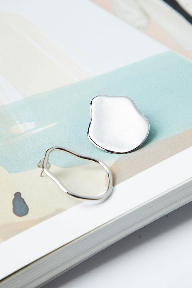 Battered Silver Oval Earring
