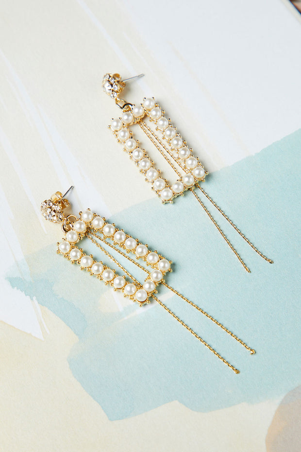 Rectangle Pearl Drop Chain Earring