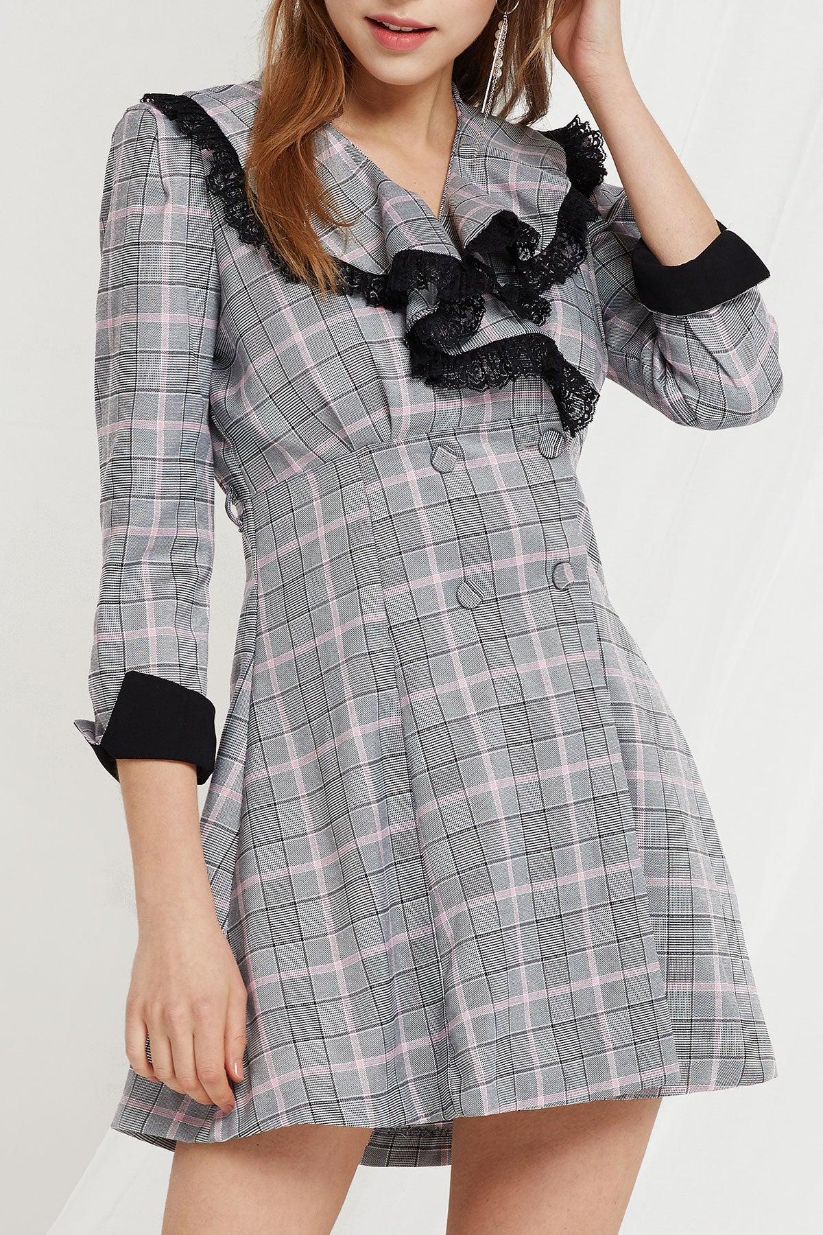 Sybil Double Breast Plaid Dress (Pre-Order)