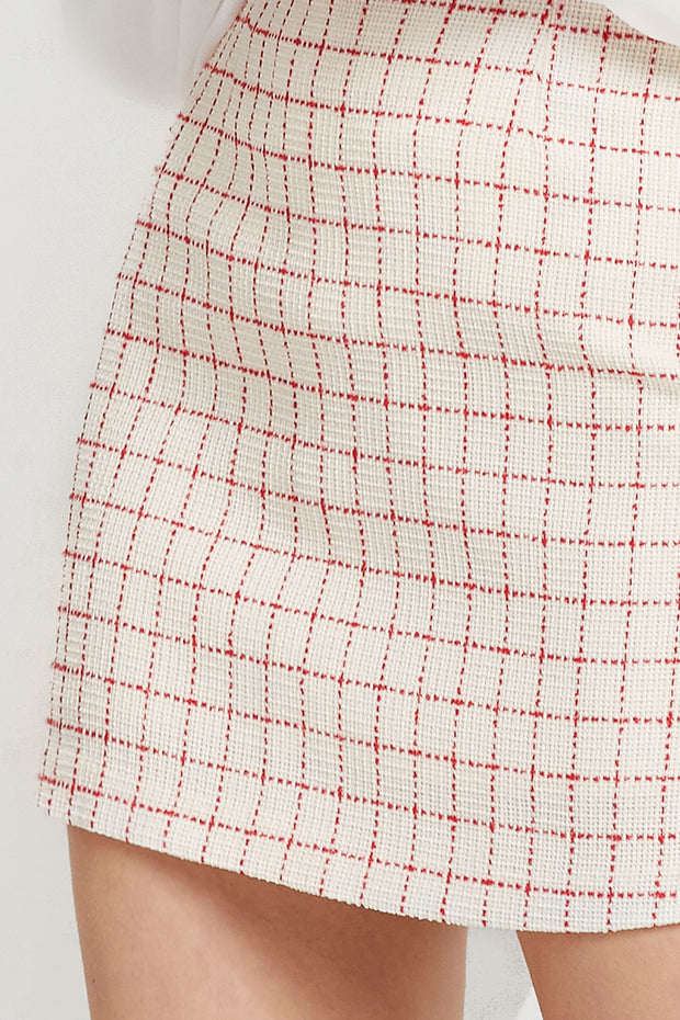 storets.com Nicki Grid Tweed Skirt