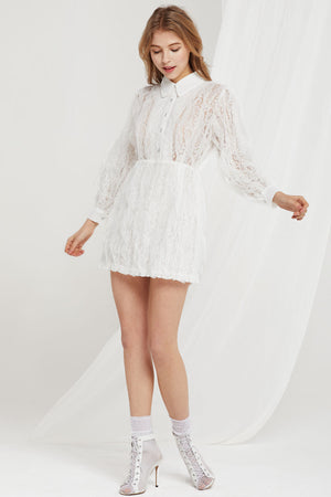 Heidi Floral Lace Shirt Dress (Pre-Order)