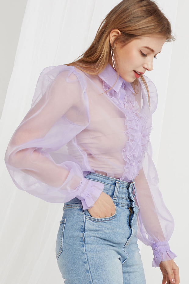 Ophelia Organza Front Frill Blouse-2 Colors