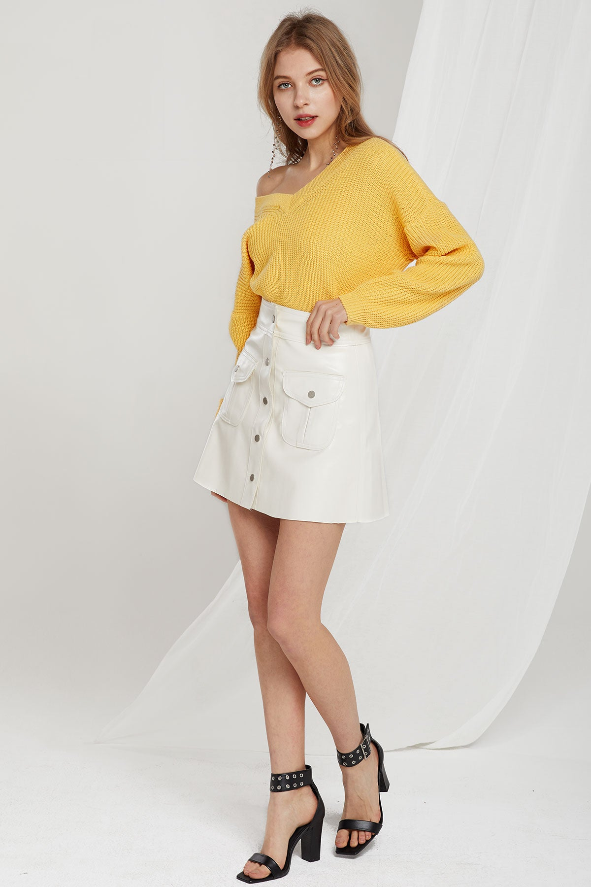 Alyssa Faux Leather Pocket Skirt (Pre-Order)