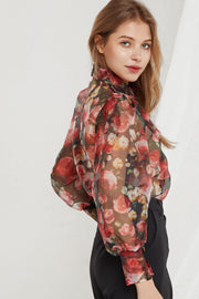 Callie Rose Printed Organza Blouse