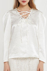 Noel Satin Lace Up Blouse