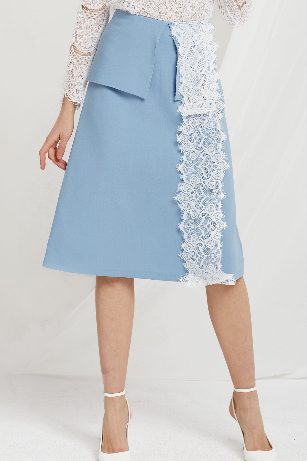 Faith Lace Trim Midi Skirt (Pre-Order)