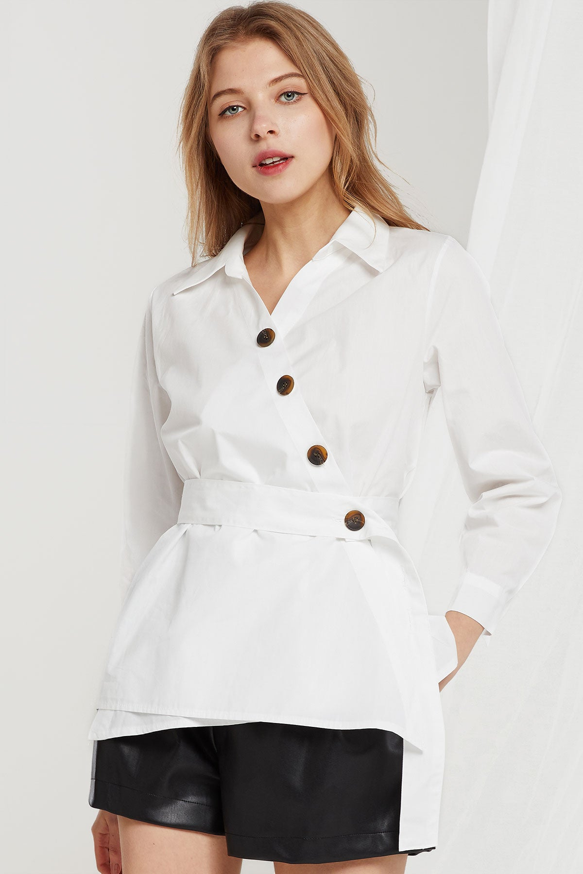 Ember Diagonal Buttons Blouse (Pre-Order)