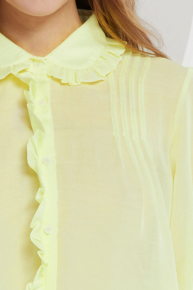 Jennet Sheer Blouse w/ Frilled Collar