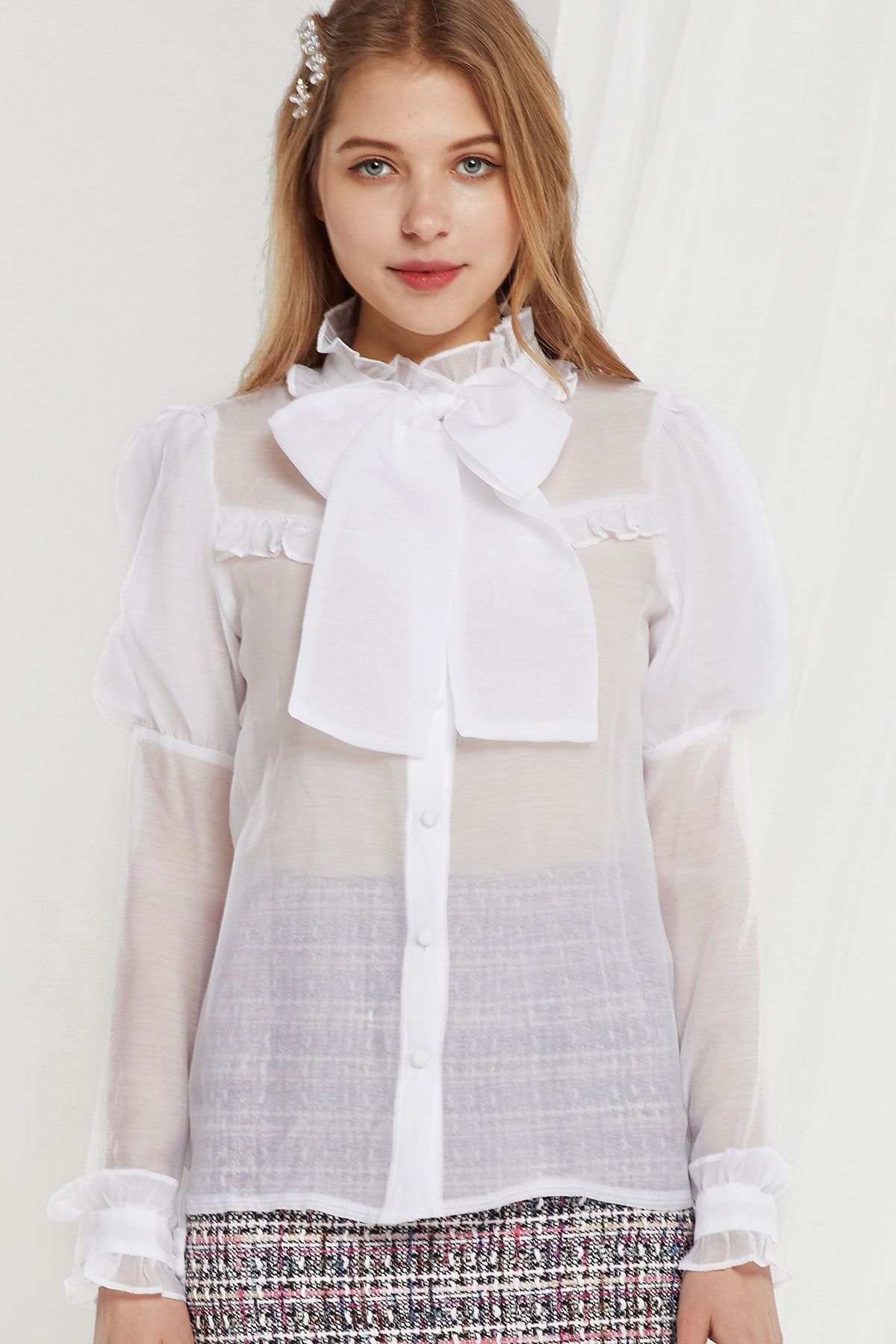 Mabel Juliet Sleeve Sheer Blouse (Pre-Order)