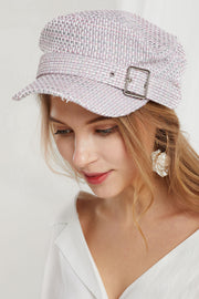 Tweed Newsboy Hat in Pink