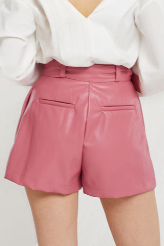 Kiersten Faux Leather Shorts w/ Belt-2 Colors