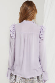 Candice Tie Collar Frilled Blouse-2 Colors