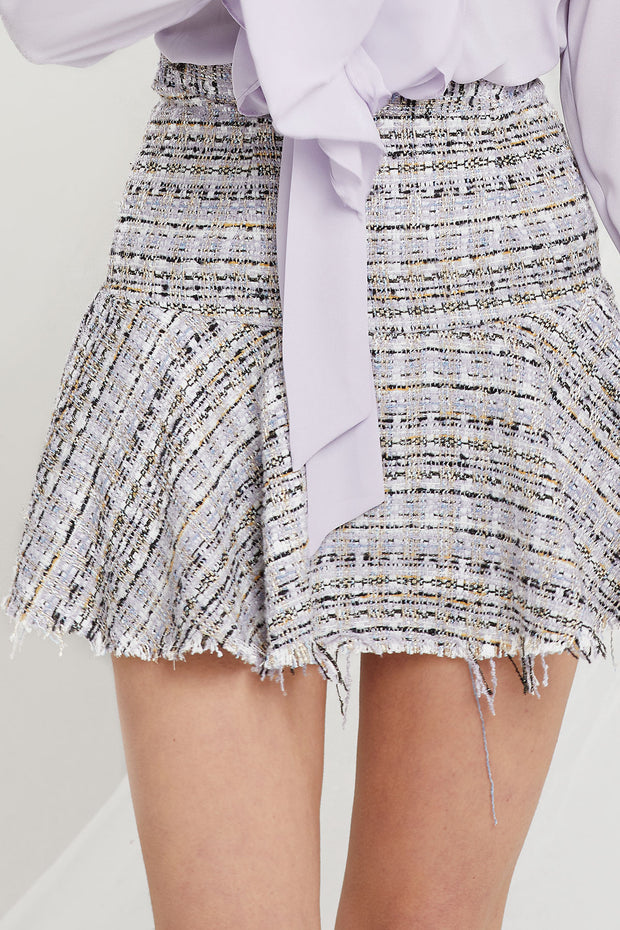 Lily Tweed Frayed Skirt