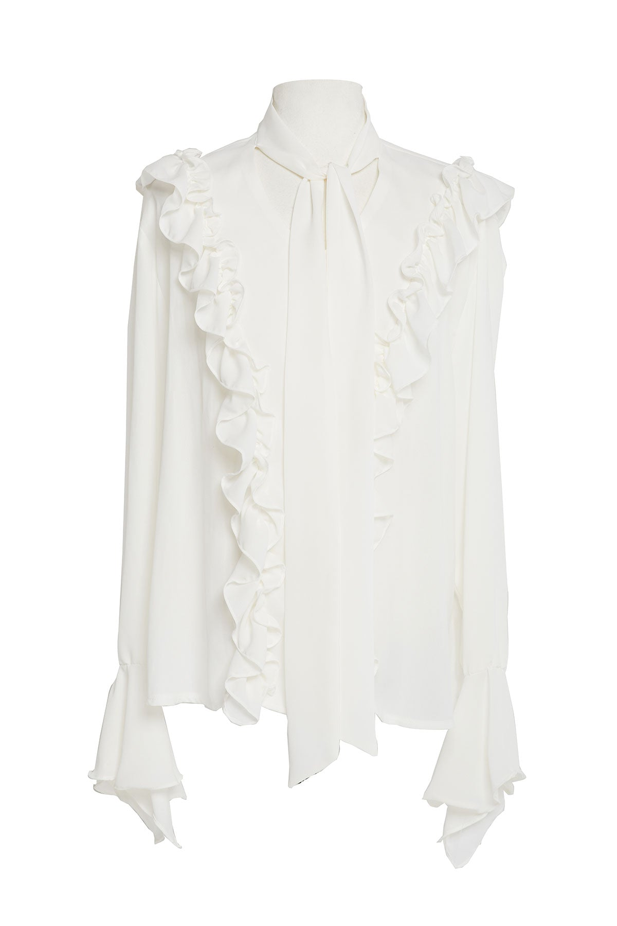 Candice Tie Collar Frilled Blouse-2 Colors (Pre-Order)