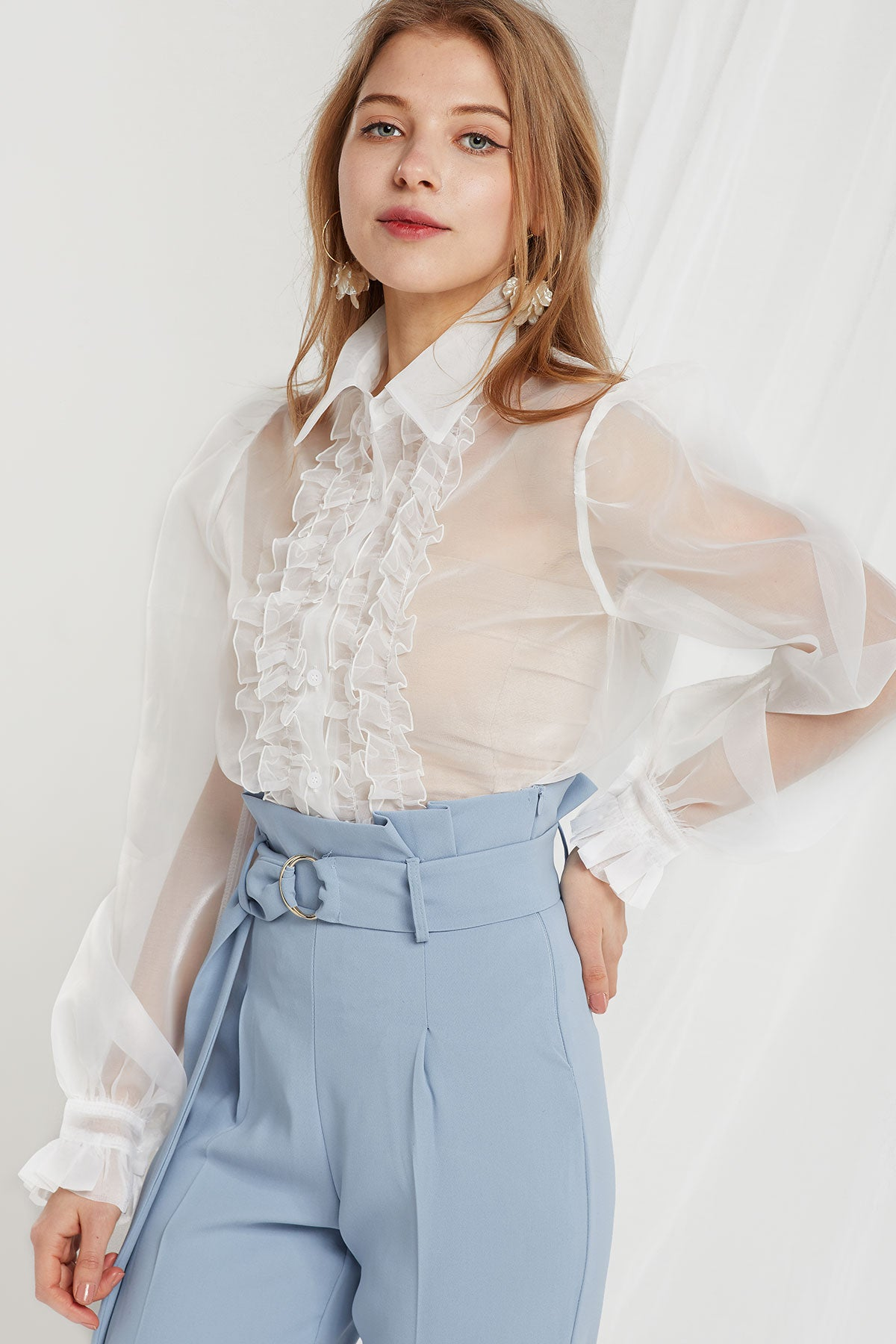 Ophelia Organza Front Frill Blouse-2 Colors (Pre-Order)