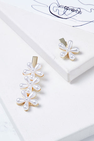Flower Pearl Hairclip Set
