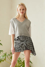 Olive Plaid Tie Wrap Skirt