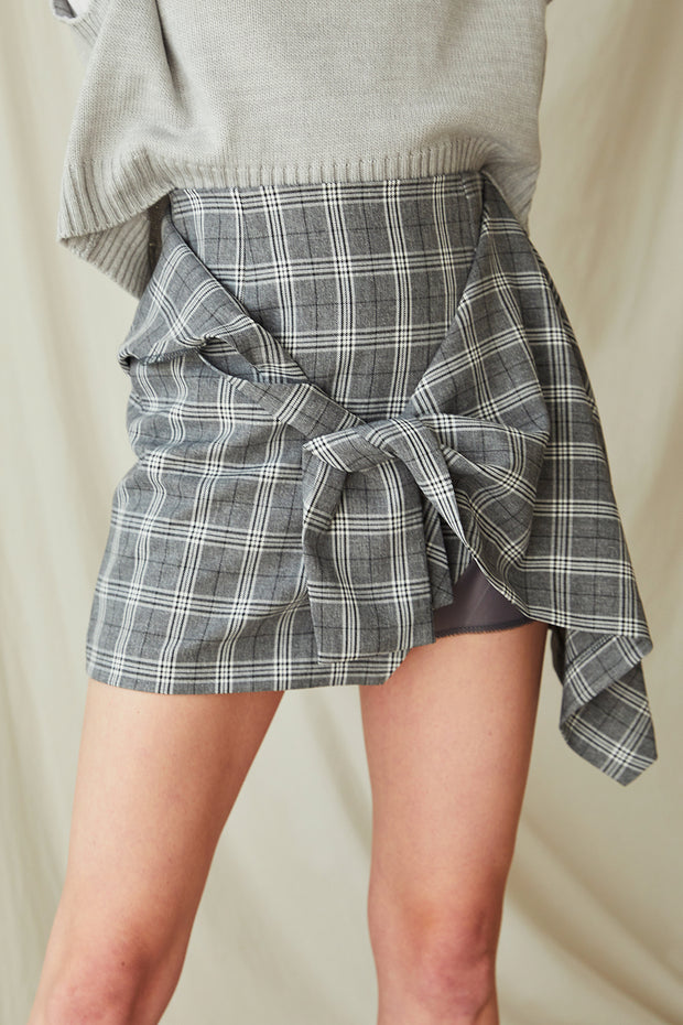 storets.com Olive Plaid Tie Wrap Skirt