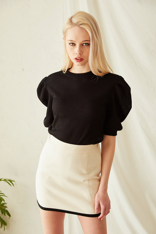 Sydney Ribbed Puff Sleeve Top