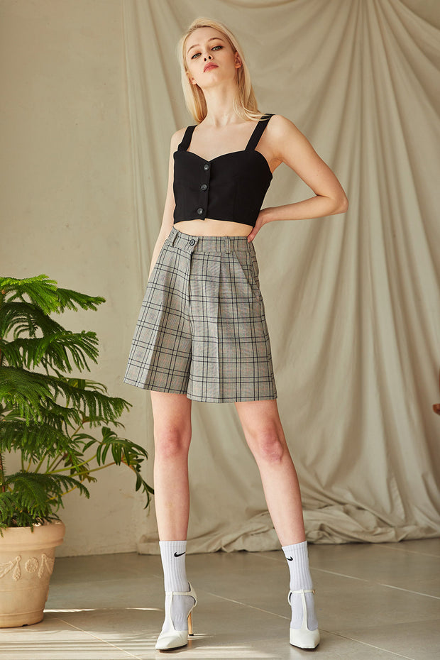 Paige Plaid Pintuck Shorts