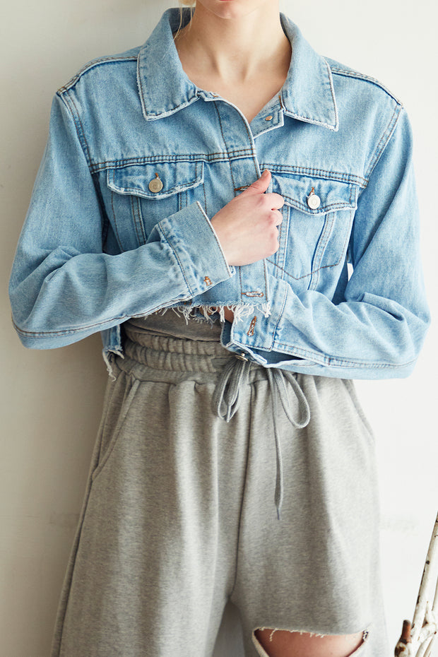 Jenna Raw Edge Cropped Denim Jacket