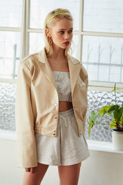 Elizabeth Cropped Pleather Jacket