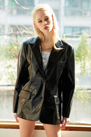 Esther Boyfriend Fit Pleather Blazer