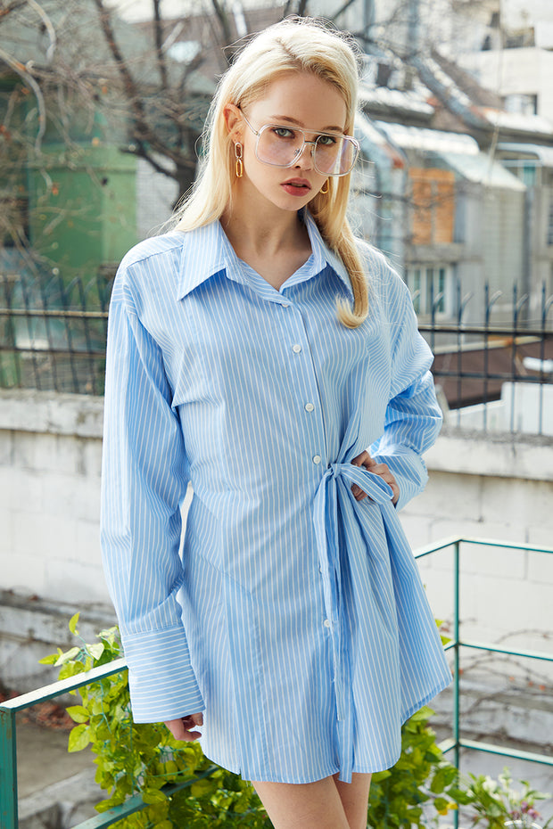 Emma Asymmetric Striped Shirt Dress