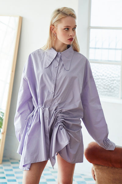 Harley Drawstring Ruched Shirt Dress