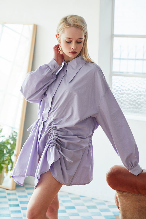 storets.com Harley Drawstring Ruched Shirt Dress