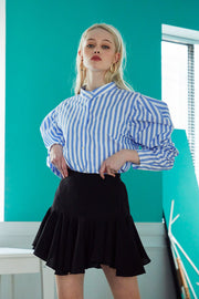 Finley Striped Ruched Sleeve Shirt