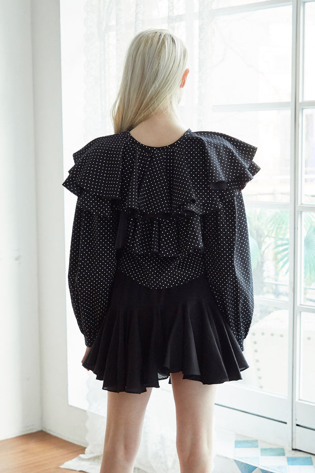 Teagan Dotted Ruffle Blouse