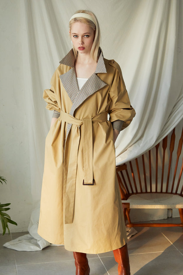 Nicole Check Detail Trench Coat