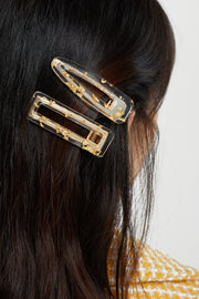 Square Glitter Clear Resin Hair Clip