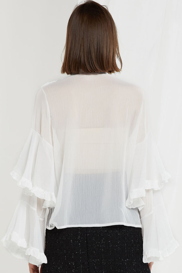 Audra Sheer Tie-neck Blouse