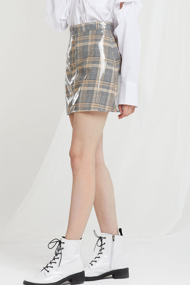 Celeste Coated Plaid Skort-2 Colors