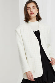 Luisa Textured Collarless Blazer in Tweed-2 Colors