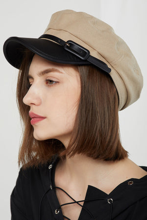 Belted Newsboy Cap w/ Pleather Visor