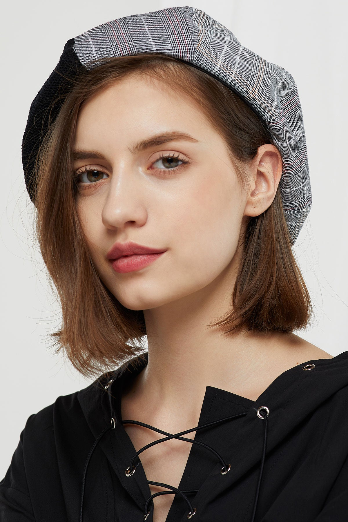 Half And Half Plaid Beret-2 Colors