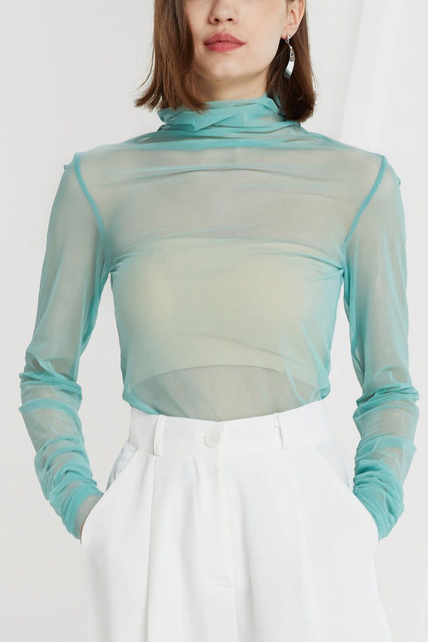 Brynlee Mesh Turtleneck Top