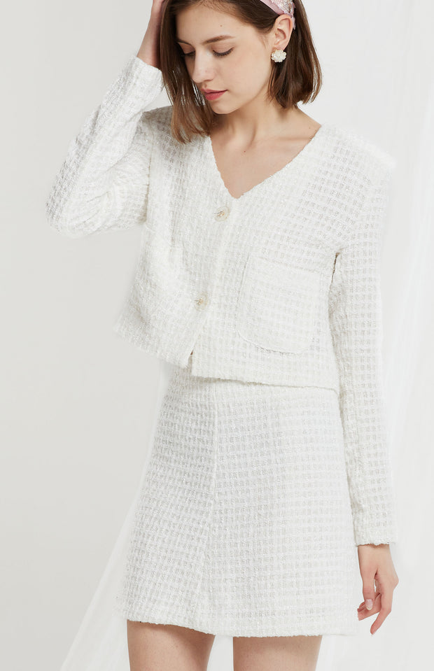storets.com Lennon Collarless Tweed Crop Jacket-2 Colors