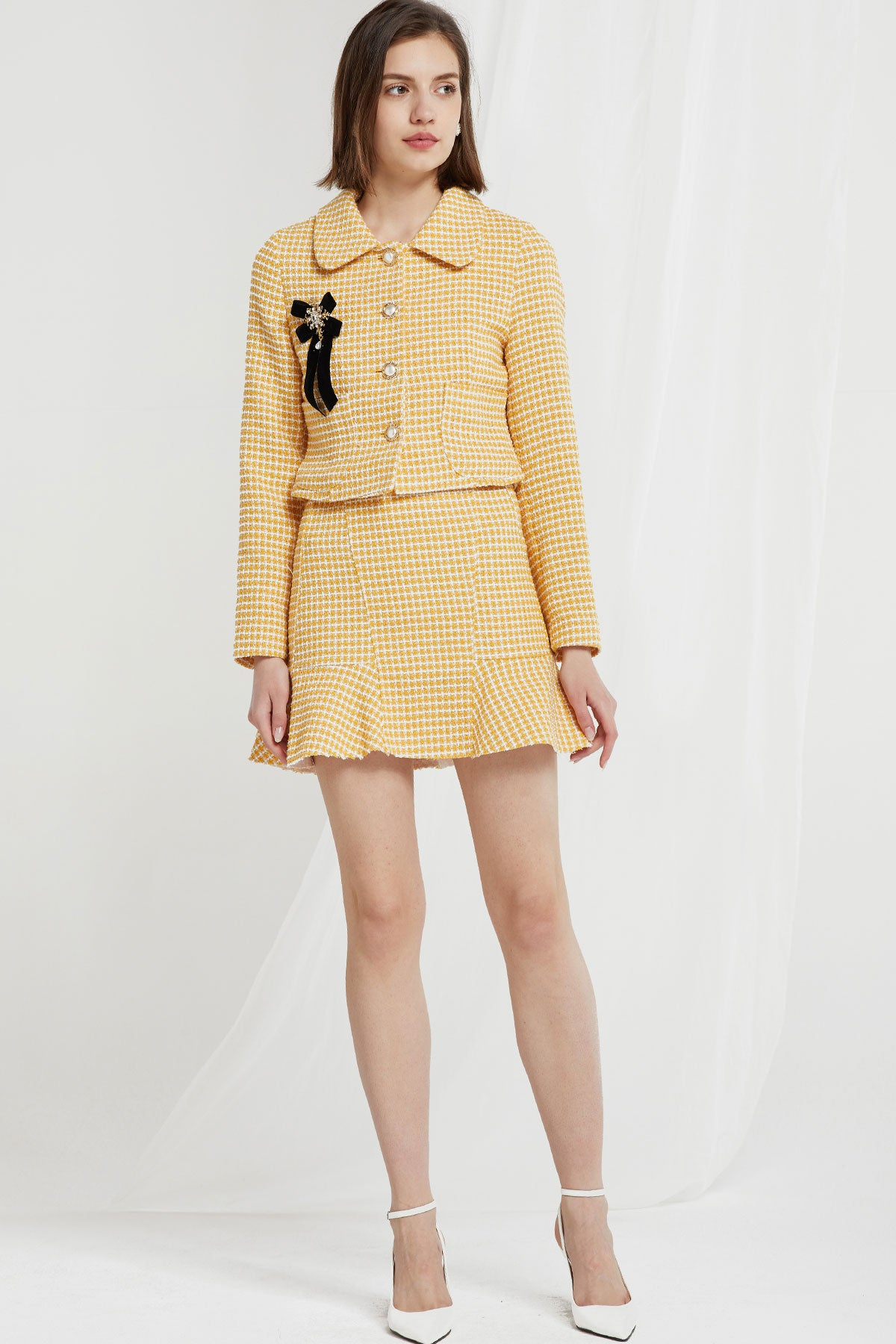 Liz Peter Pan Collar Jacket in Tweed (Pre-Order)